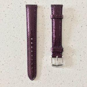 NWOT Michele 16 Leather Metallic Purple Watch Band